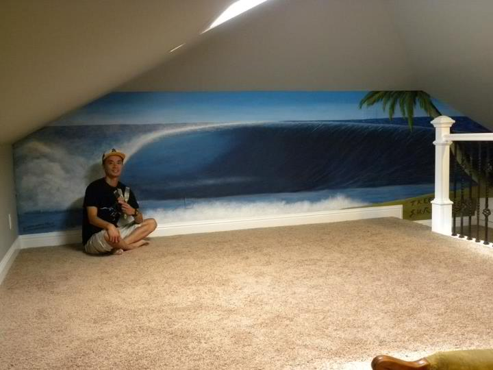 left handed wave barrel mural