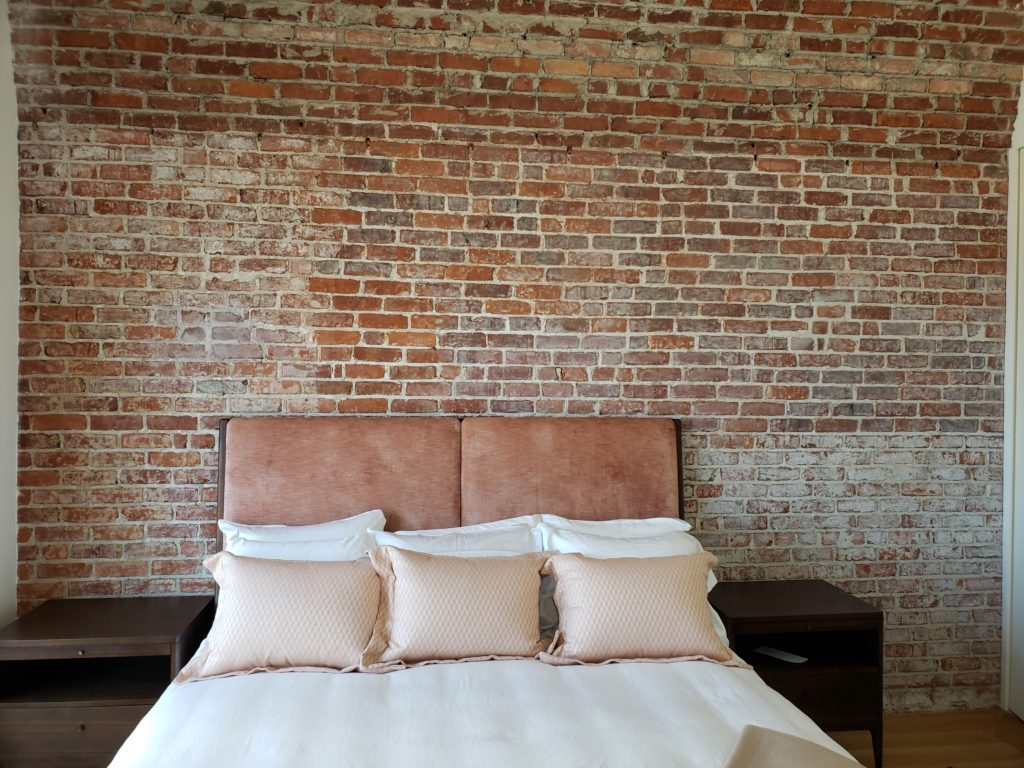 faux brick bedroom